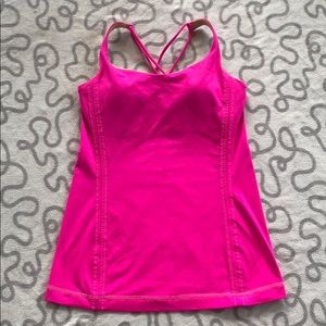 Lululemon Cross Back Strap Hot Pink Tank Top